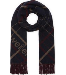 'tableau' check slogan embroidered wool blend scarf