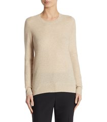 saks fifth avenue women's collection cashmere roundneck sweater - tan heather - size s