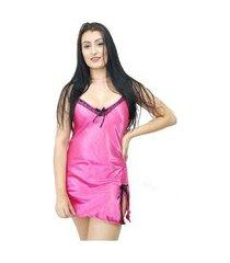 camisola curta cetim com decote e renda yaries pink