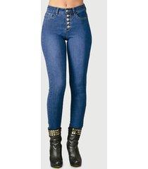 jeans tentation pitillo botones azul - calce ajustado