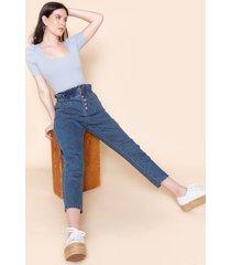 women's harper heritage paperbag high waist jeans in denim by francesca's - size: l