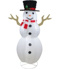 northlight pre-lit chenille swirl large snowman with top hat christmas outdoor decoration