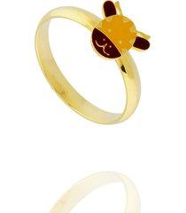 anel dona diva semi joias vaquinha dourado