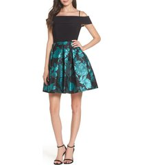 morgan & co. fit & flare dress, size 3 in black/teal at nordstrom