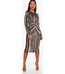 boutique gestreepte lara midi jurk met pailletten, zwart