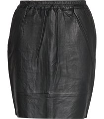 leather skirt w. elastic in waist kort kjol svart coster copenhagen