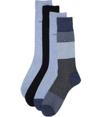 calvin klein men's 4-pack blocked micro-stripe dress socks