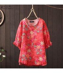 zanzea camisa casual con estampado floral de 1/2 manga para mujer blusa con cuello redondo tallas grandes -rojo