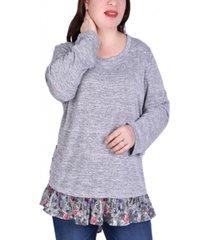 women's long sleeve tunic with ruffled hem