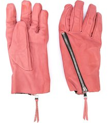 the viridi-anne zip detail textured gloves - pink