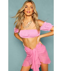 chiffon ruffle wrap tie side sarong cover up, pink