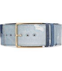 dolce & gabbana gold-tone denim belt - blue