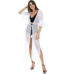 kimono longo crochet - branco - feminino - dafiti