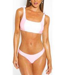 colour block crop bikini, roze