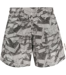 off-white all-over arrow print swim shorts - grey
