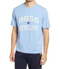 boss x russell athletic tra varsity logo t-shirt, size medium - blue