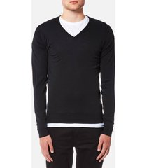 john smedley men's blenheim 30 gauge extra fine v neck jumper - black - xl - black