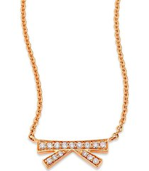 origami small diamond & 18k rose gold pendant necklace