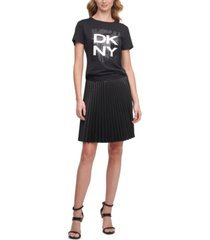 dkny pleated faux-leather skirt