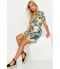 plus floral leopard scallop hem shift dress, tan