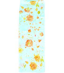 hermes la rosee stole blue floral silk scarf blue/multicolor/floral print sz: