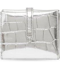 burberry metallic embossed folding wallet - silver