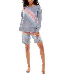 roudelain tie-dyed top & bermuda shorts loungewear set