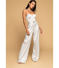 akira the one and only wide leg strapless jumpsuit with attached belt