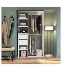 guarda-roupa modulado closet 2 gavetas 2 cabideiros trevalla db-002 branco