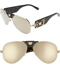 versace medusa 62mm aviator sunglasses in gold/black/brown mirror at nordstrom