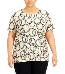 jm collection plus size printed jacquard t-shirt, created for macy's