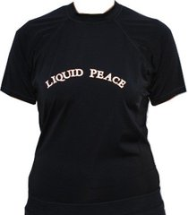 women's liquid peace, black, short sleeve, loose-fit, rash guard/tee