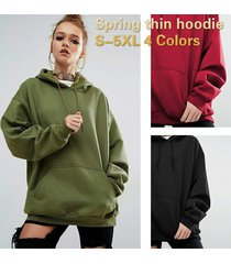stylish thin hoodie casual style solid color front pocket long sleeve sweater
