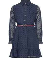 flock star dress l/s jurk blauw tommy hilfiger
