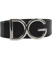 dolce & gabbana black logo belt s