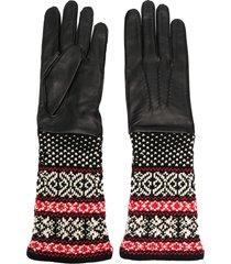 yohji yamamoto fair isle-cuff gloves - black