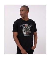 camiseta comfort em algodão peruano com estampa moto   marfinno   preto   m