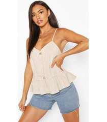 button detail woven peplum cami top