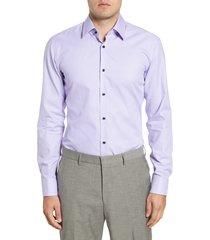 men's big & tall boss jano slim fit dress shirt, size 18 - purple