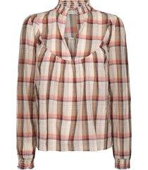 geruite blouse franscisca  beige