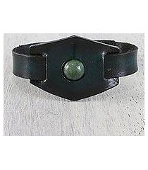 agate and leather wristband bracelet, 'agate focus' (thailand)