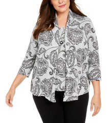 alfred dunner plus size paisley layered-look top