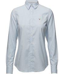 stretch oxford solid overhemd met lange mouwen blauw gant