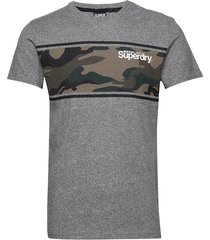 core logo camo stripe tee t-shirts short-sleeved grå superdry