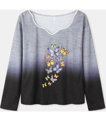 camicetta di colore sfumato a maniche lunghe con stampa a farfalla per donna