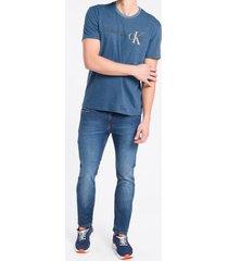 camiseta masculina mescla azul médio calvin klein jeans - pp