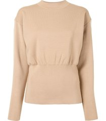 3.1 phillip lim ls military rib mock neck pullover - neutrals