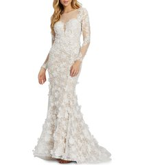 mac duggal women's illusion lace column gown - ivory nude - size 8