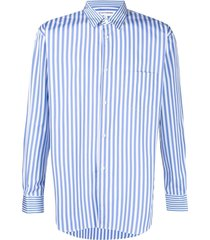 comme des garçons shirt vertical-stripe long-sleeve shirt - blue