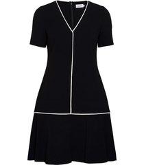 ss piping detail peplum dress jurk knielengte zwart calvin klein